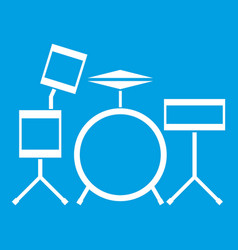 Drum kit icon white vector