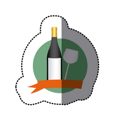 Emblem wine bottle and glass icon vector
