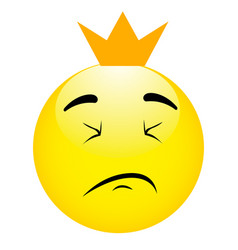 emoticon king with crown cartoon isolated vector image