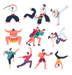 Fighting sportsmen oriental fight arts isolated vector