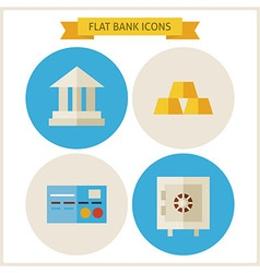 Flat Bank Website Icons Set vector
