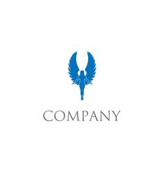 Flying angel silhouette logo design vector