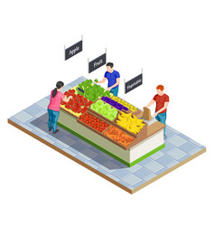 Food market isometric composition vector