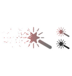 fragmented pixel halftone wand magic tool icon vector image