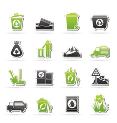 Garbage and rubbish icons vector