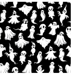 halloween ghost seamless pattern background design vector image