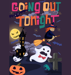 Halloween poster with witch bats and ghost vector