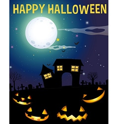 Halloween theme with haunted house and faces vector