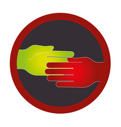 Hand human silhouette colors community icon vector