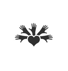 hands of people unity and peace logo vector image