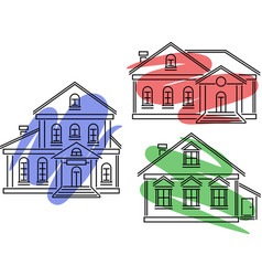 icons with buildings and dye vector image
