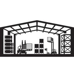 Industrial warehouse scene vector image