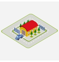 isometric car drives into garage vector image