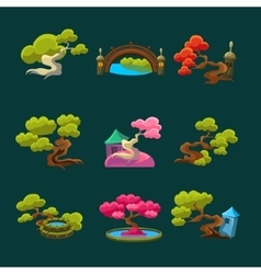 Japanese Style Trees Set vector