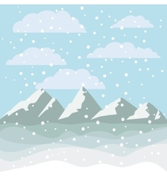 Landscape mountains and snowing design vector