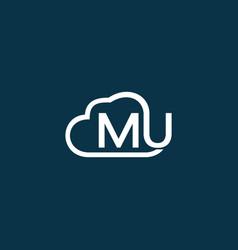 letter mu cloud creative modern logo vector image