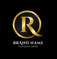 Luxury letter r logo template in gold color royal vector