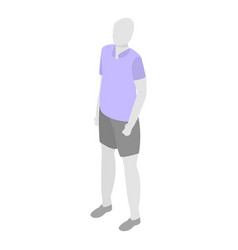 Man mannequin shorts polo icon isometric style vector