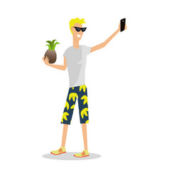 Man on vacation with mobile device and pineapple vector