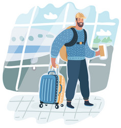man with suitcase is going in airport terminal vector image