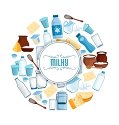Milk and dairy products poster vector image