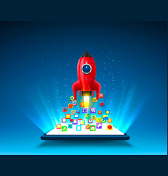 mobile icons app rocket on light background vector image