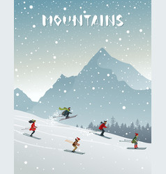 Mountains and skiing vector