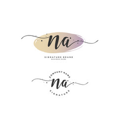 N a initial letter handwriting and signature logo vector