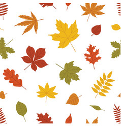 Natural seamless pattern with autumn fallen leaves vector