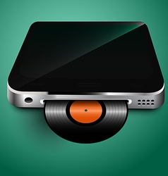 Old records played on mobile devices vector image