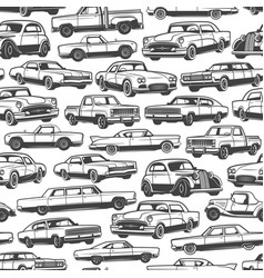 old retro cars and vintage automobile pattern vector image