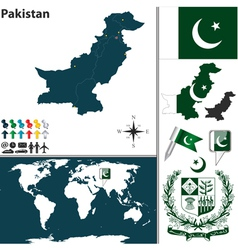 Pakistan map world vector