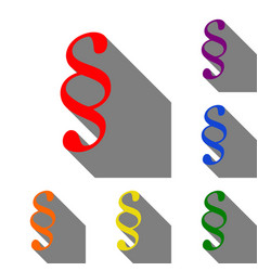Paragraph sign set of red orange vector
