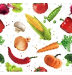 Pattern pixel vegetables vector image