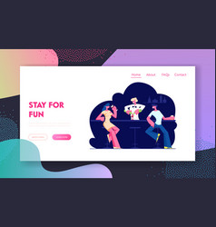 People visiting night club website landing page vector