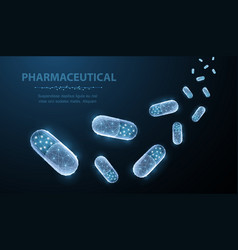 pills abstract polygonal capsule pills falling on vector image