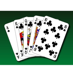 Poker hand - Royal flush club vector image vector image