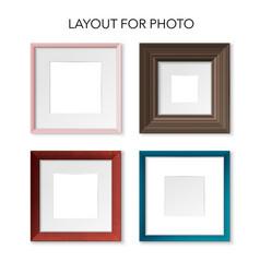 realistic square frames set vector image