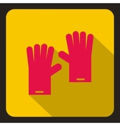 Red rubber gloves icon flat style vector