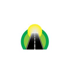 road in a circle at a green natural way and vector image