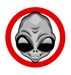 Round sign with a gray extraterrestrial alien vector
