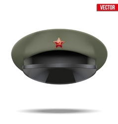 Russian Military officer peaked cap with red star vector image