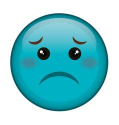 sad face emoticon kawaii character vector image