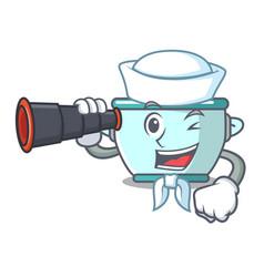 Sailor with binocular steel pot mascot cartoon vector