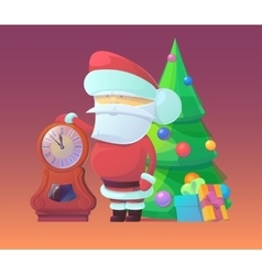 Santa Claus with clock and vector image