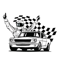 set colorful fast retro motor racing cars on a vector image
