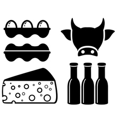 set food icon for milk production vector image