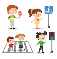 Set of children teaching road safety traffic vector
