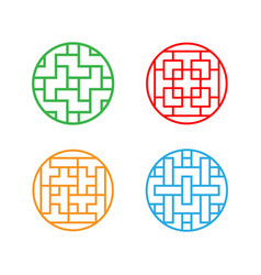 Set of circle korean pattern window frame vector