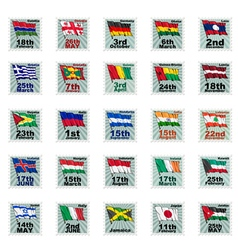Set of national stamps 03 vector